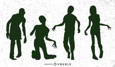 Group of several evil zombies walking in different poses in silhouette style artwork. Suitable for various horror or Halloween designs. Zombie Pose, Zombie Walk, Zombie Drawings, Zombie Monster, Halloween Designs, Character Base, Electronic Media, Zombie Apocalypse, Pose Reference