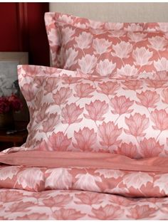 Magnolia Red Bedding Set. 100% Cotton. 260 thread count. Made in Portugal. Designed by the Secret Linen Store.