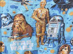 Star Wars Bed Flat Sheet Original Movie Memorabilia Vintage 1977  Twin Flat Bed Linen Bed Linen, Linen Bedding, Vintage Crafts, Vintage Items, C3po And R2d2, Jade Green Color, Twin Bed Sheets, Flat Bed, Blue Square