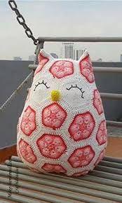 free crochet african flower owl pattern - Google Search