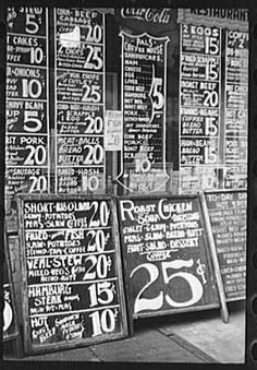 Here's a cool old photo taken in April of It shows restaurant signs on Baltimore St. Some pretty good prices! Restaurant sign on Baltimore street Source: Library of Congress Restaurant Streets, Restaurant Signs, Restaurant Concept, Baltimore Restaurants, Price Signs, Great Depression, Soda Fountain, Library Of Congress, Street Signs