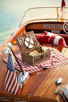 Vintage Boat picnic. Complete classic americana!