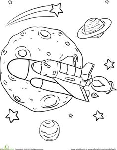 Worksheets: Rad Rocket Ship Coloring Page
