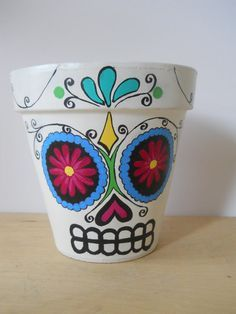 Day of the Dead sugar skull Flower Pot Planter Halloween Dia de los Muertos outdoor halloween decor Made to Order on Etsy, $28.00