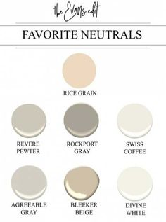 7 Tried + True Neutral Paint Colors That Work Every Single Time – The Evans Edit Neutral paint colors, Sherwin Williams Rice Grain Benjamin Moore Revere Pewter HC Benjamin Moore Rockport Gray HC Benjamin Moore Swiss Coffee OC Sherwin Wi Interior Paint Colors For Living Room, Living Colors, Kitchen Paint Colors, Paint Colors For Home, Sherwin Williams Agreeable Gray, Sherwin Williams Revere Pewter, Revere Pewter Benjamin Moore, Benjamin Moore Paint, Neutral Paint Colors