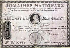 French three hundred livre banknote, 1790 (ink on paper)