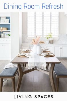 Upgrade your dining room space with fresh styles to create the perfect setting for eating + entertaining. Dining Furniture Sets, Dining Room Sets, Dining Room Table, Dining Bench, Home Furniture, Kitchen Tables, Bathroom Vanity Decor, Small Dining, Kitchen Decor