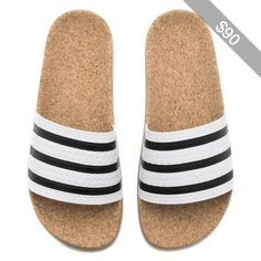 New WOMENS Adidas ADILETTE CORK Slides Sandals White Brown Flip Flops  BA7210 q1 Cork Sandals 3d76b352e9