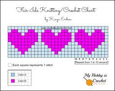 New knitting hat patterns free charts Ideas Graph Crochet, Free Crochet, Knit Crochet, Crochet Patterns, Hat Patterns, Fair Isle Knitting Patterns, Knitting Charts, Fair Isle Chart, Knitted Heart