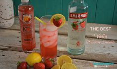 A quick two ingredient vodka strawberry lemonade is a great summer cocktail and low-calorie as well.