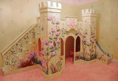 How awesome is this?! Color castle bed....perfect for little princesses!!