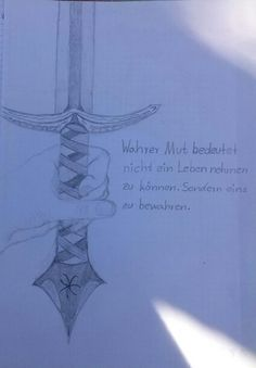 My hand with a sword and a (german) text.