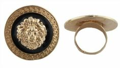 2 Pieces of Ladies Gold with Glossy Black Designer Style Centered Lion Head Adjustable Finger Ring JOTW. $0.05