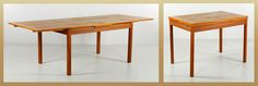 "DANISH VOLTHER DINING TABLE Poul Volther (Danish 1923-2001), dining table, teak with two drop leaves, 28"" x 92 3/4"" (with leaves) x 35 1/2"". (SOLD) http://www.kaminskiauctions.com/servlet/Search.do?auctionId=51&itemId=29836"