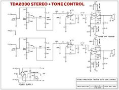 TDA2030 Stereo Amplifier + Tone Control Power Supply Circuit, Stereo Amplifier, Circuit Diagram, Pasta, Control, Technology, Audio Amplifier, Audio System, Electronic Circuit