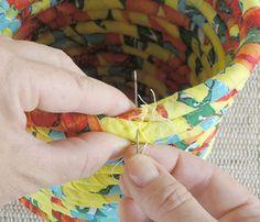 Cesta feita com retalhos de chita, como fazer                                                                                                                                                                                 Mais