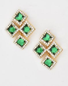 Gold Tone / Emerald Glass / Clear Rhinestone / Lead&nickel Compliant / Button / Post Earring Set