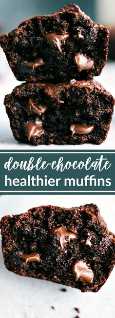 Skinny Chocolate Peanut Butter Muffins! SUPER healthy -- no flour, butter, or oil, and low sugar in these delicious treats! chelseasmessyapron.com