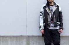 Men Black and White Leather Jacket with studs, Two Tone Leather Jacket in Rock Punk Style for Racers and Bikers Biker Leather, White Leather, Leather Jackets, Moda Punk Rock, Punk Jackets, Estilo Rock, Studded Jacket, Black And White Man, Punk Fashion