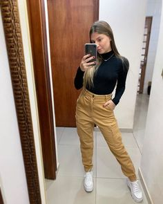 116 special trendy outfits ideas this year! Edgy Outfits, Casual Fall Outfits, Girl Outfits, Cute Outfits, Fashion Outfits, Girl Fashion, Fashion Looks, Pantalon Cargo, Mode Streetwear