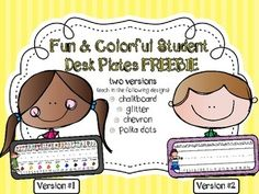 Fun & Colorful Student Desk Plates FREEBIE in a Variety of Colors & Patterns Includes: Upper & Lowercase Alphabet, a Beginning Sound Picture for each letter, Numbers and colors with color names Classroom Setup, Classroom Organization, Beginning Of School, Back To School, Preschool Rooms, Alphabet Pictures, Student Desks, Visual Aids, Letter Sounds