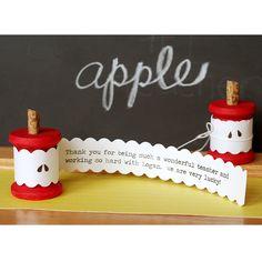 Apple Core Spool Card - DIY gifts for teachers - easy cute cards - teacher appreciation week