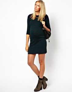 Image 4 ofASOS Maternity Exclusive Dress In Breton Stripe With Button Shoulder