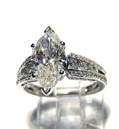 Reserved...3.45ct Antique Vintage MARQUISE Cut DIAMOND ENGAGEMENT Wedding Anniversary Ring Natural 18k. $12,700.00, via Etsy.  My Ideal ring