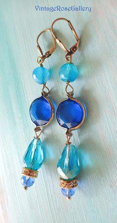 Mykonos Summer Earrings, Bohemian Blue Dangle Earrings , Mykonos Blue Earrings by VintageRoseGallery . Beaded Tassel Earrings, Blue Earrings, Teardrop Earrings, Earrings Handmade, Dangle Earrings, Fancy Earrings, Boho Jewelry, Vintage Jewelry, Fashion Jewelry