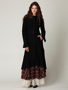 Liked on Pinterest: free people heritage wool coat. Love the contrasting folksy layers <3