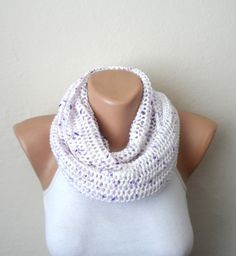 white knit infinity scarf white purple the mealy circle scarf