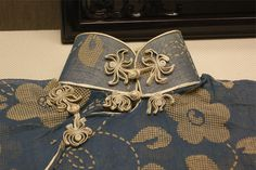 30年代蓝色印花纱短袖旗袍盘扣