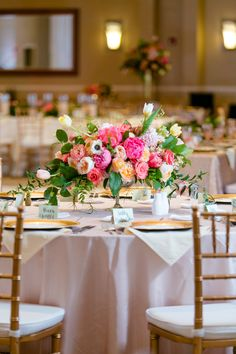 Beach and Ballroom Wedding by Set Free Photography - Southern Weddings Colorful Centerpieces, Peonies Centerpiece, Low Centerpieces, Centrepieces, Wedding Arrangements, Floral Arrangements, Table Arrangements, Floral Wedding, Wedding Colors
