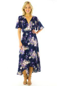 Navy Splash Petal Maxi Wrap Dress