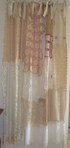 Shabby Chic Shower Curtain/Vintage Crochet by BohoBagsNThings