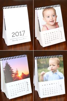 Fabulous DIY gift idea! Mini 2017 photo calendars. Free printables that you can customize with your own photos for a cheap and easy gift. Great Christmas gift idea for family or friends!