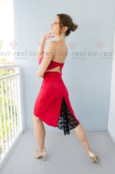 Passion Red High-waisted Milonguera Pencil by SurRealClothing
