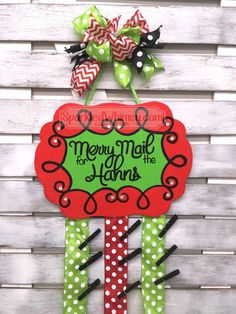 Personalized Christmas Card Holder: Merry Mail by SparkledWhimsy on Etsy https://www.etsy.com/listing/251864503/personalized-christmas-card-holder-merry.