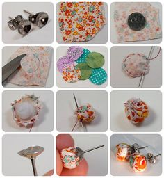 Fabric Scrap Earring tutorial by TinyApartmentCrafts, via Flickr