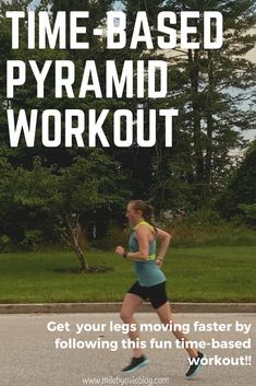 This time-based pyramid workout is a fartlek run that will get your legs moving faster! You can make your intervals as hard or as easy as you want. This running workout is fun and goes by quickly! Speed Workout, Running Workouts, Running Tips, Running Blogs, 5k Training Plan, Strength Training For Runners, Marathon Training, Pyramid Workout, Time Based