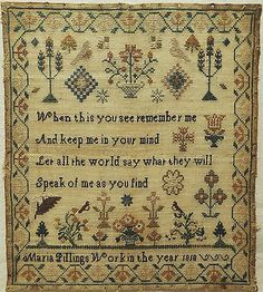EARLY-19TH-CENTURY-SAMPLER-BY-MARIA-PILLINGS-1818, ebay cockleheart