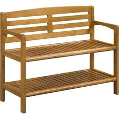 Abingdon Solid Birch Wood Large Bench w/ Back in Cinnamon Finish - New Ridge style, seating and storage with the distinctive Abingdon Solid Birch Wood Large Bench with Back. This expertly crafted bench is built to last, bringing modern cot Outdoor Chairs, Outdoor Furniture, Outdoor Decor, Modern Cottage Style, Leather Chair With Ottoman, Leather Chairs, Bathroom Bench, Making A Bench, Bench With Back