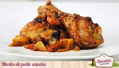 Muslos de pollo asados sobre cama de verduras -  El pollo asado es un plato con el que siempre se acierta. En casa lo hemos acompañado siempre de una buena cama de verduras en la que las zanahorias juegan un papel imprescindible. Estas aportan un dulzor a la salsa muy interesante que os animo a probar si no acostumbráis a utilizar este... - http://www.lasrecetascocina.com/2013/05/21/muslos-de-pollo-asados-sobre-cama-de-verduras/
