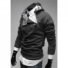 $9.49 Stylish Chinese Style Buckle Embellished Polyester Thicken Fleece Hoodie For Men. Would look divine on Nicholas