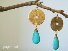 Maya 02 | paper earrings | cotton cardstock, faux gold leaf and howlite drops