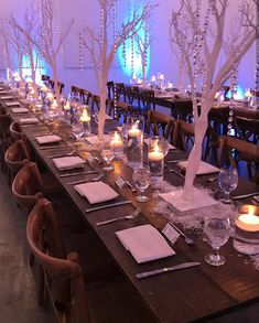 Beautiful Winter Wonderland event with white trees, crystals, snow, lots of candles and string lights! By Event Design Wonderland Events, Winter Wonderland, White Trees, Wedding Decorations, Table Decorations, Event Company, Event Management, Bat Mitzvah, String Lights
