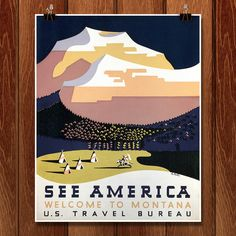 Shop WPA Vintage Travel Poster Montana See America Postcard created by PD_Graphics. Wpa Posters, Travel Wall Decor, Travel And Tourism, Vintage Travel Posters, Montana, Wall Art Prints, Retro Vintage, Vintage Images, Unisex