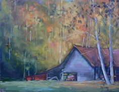 Contemporary Artists of Florida: Painting on Sale, Barn Oil Landscape, Daily Painting, Halfway Up the Mountain by Carol Schiff, 11x14 Original