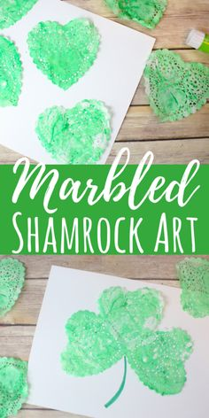 This marbled Shamrock art is such a fun process art project for kids! Using shaving cream, paint and paper doilies, these are simple for all ages. #stpatricksday #processart #shamrockart #kidscrafts #holidayswithkids