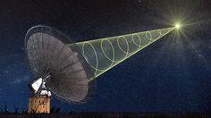 Parkes Radio Telescope in Eastern Australia. A schematic illustration of CSIRO's Parkes radio telescope receiving the polarized signal from the new 'fast radio burst.' Image via Swinburne Astronomy Productions Radios, Radio Signal From Space, Cosmic Web, Einstein, Neutron Star, Theory Of Relativity, Tempo Real, Interstellar, Signs